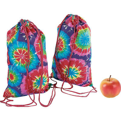 Lot of 12 Bright Tie Dye Backpacks With Drawstring