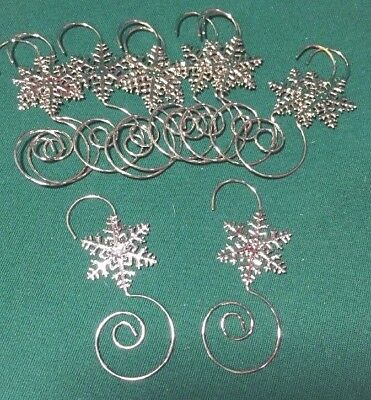 Lot 12 Silver Metal Snowflake fancy Christmas tree ornament hangers hooks