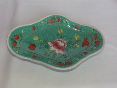 Vtg Antique Chinese Hand Painted Enamel Floral Oval Footed Porcelain Dish Bowl