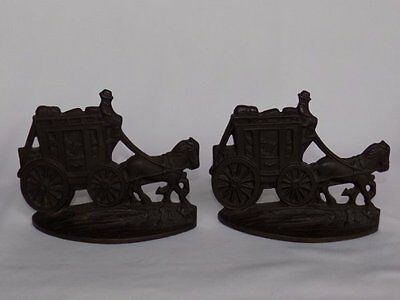 ANTIQUE 1920's CONNECTICUT FOUNDRY AM STAGECOACH WESTERN CAST METAL BOOKENDS
