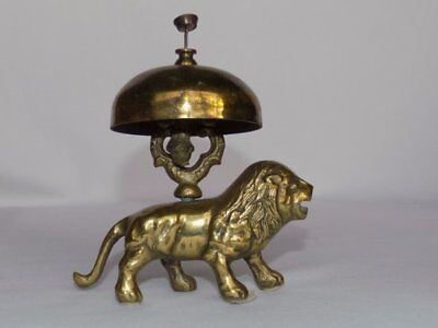 Vtg Standing Lion Figural Hotel Counter Push Brass Bell