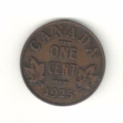 Canada 1925 One Cent (Key Date)  -  Fine