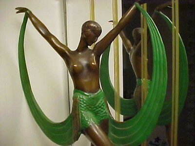 Art Deco French Fayral Modernisitic Semi Nude Lady Bronze Statue on Marble