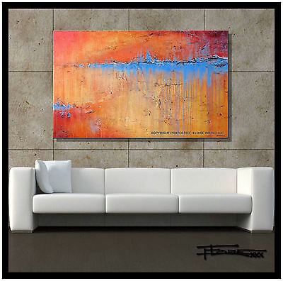 ABSTRACT PAINTING Modern CANVAS WALL ART Large, Signed, FRAMED US ELOISExxx