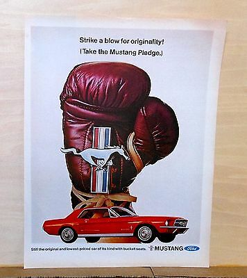 1967 magazine ad for Ford - red Mustang & boxing glove, Take Mustang Pledge