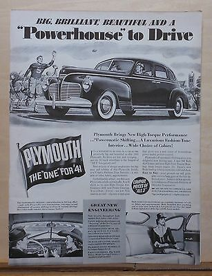 1940 magazine ad for 1941 Plymouth - Powerhouse to Drive, Great Engineering