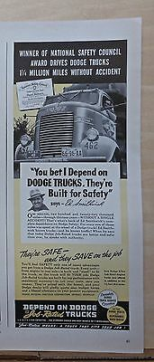 1940 magazine ad for Dodge - Ed Smithwick Safety Winner drives Dodge Truck