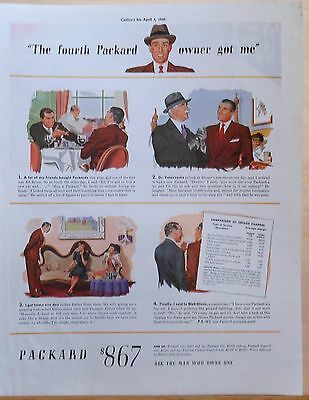 1940 magazine ad for Packard - Man inquires after Packard, statistician wins