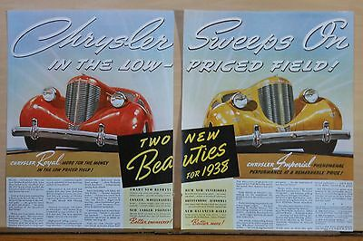 1938 two page magazine ad for Chrysler - Two Beauties, Royal & Imperial cars