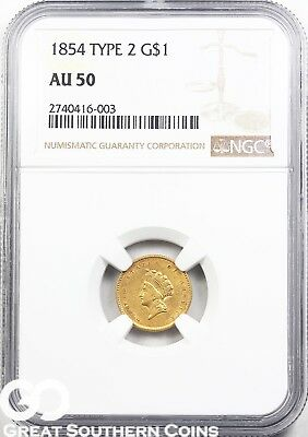 1854 NGC Gold Dollar, $1 Indian Princess NGC AU 50 ** Type 2 Key Date!