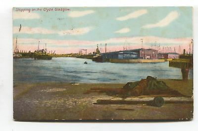 Glasgow - Shipping on the Clyde - 1908 used postcard