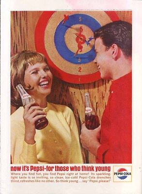 Pepsi for those who think young dart board ad 1964