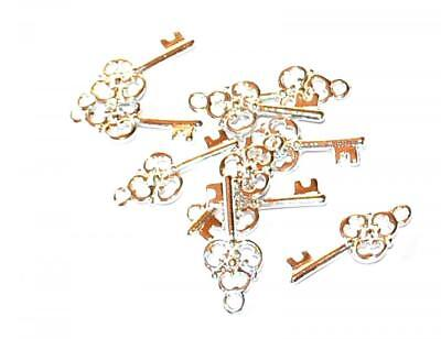 10, 50 or 100 SILVER PLATED ANTIQUE KEY CRAFT CHARMS