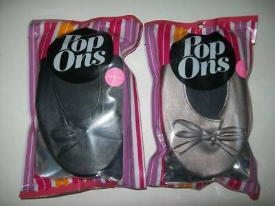 Ladies Soft Ballet Flats By Popons Black Or Pewter Size S 6-7, M 8-9, L 10+ New