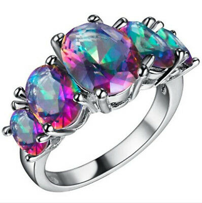 HOT Women Multi-Color Gemstone Crystal Silver Wedding Ring Jewelry Size 6 7 8 9