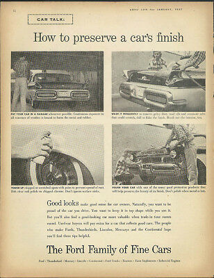 How to preserve a car's finish Ford Family of Fine Cars ad 1957 Mercury