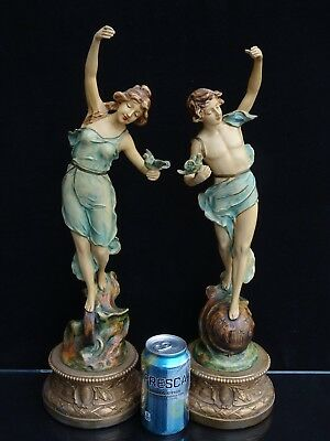Pair Of Antique Art Nouveau Spelter Semi-Nude French Figurines