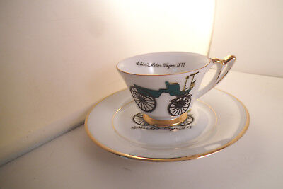 Vintage Napco Hand Painted Japan Cup & Saucer Selden's Motor Wagon Car 1877