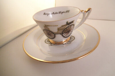 Vintage Napco Hand Painted Japan Duryea's Cup & Ford's First Car Saucer 1896
