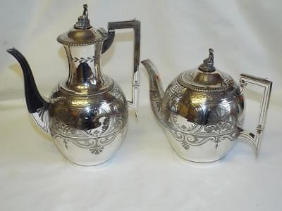 Super antique Aesthetic Period silver plated tea & coffee pots,c1874.