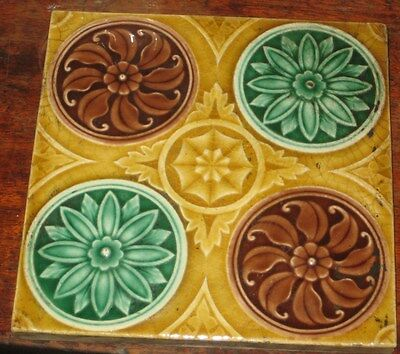 Vintage English Tile Very Pretty Flowerhead Roundels Aesthetic Design