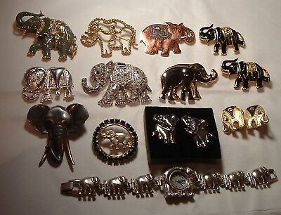 Big Lot Vintage & Contemporary Estate Jewelry Pins Brooches Watch ELEPHANTS