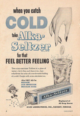 1954 Alka Seltzer When You Catch Cold Original Ad