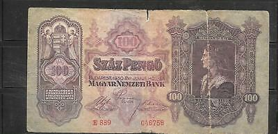 HUNGARY #98 1930 GOOD circULATED VINTAGE 100 PENGO OLD BANKNOTE NOTE PAPER MONEY