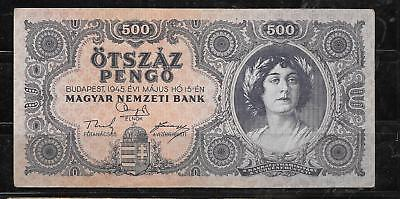 HUNGARY #117A 1945 vg CIRCULATED 500 pengo old BANKNOTE PAPER MONEY CURRENCY