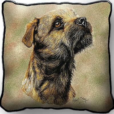 "17"" x 17"" Pillow - Border Terrier by Robert May 1139"