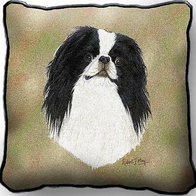 "17"" x 17"" Pillow - Japanese Chin by Robert May 3380"