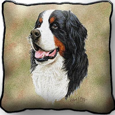 "17"" x 17"" Pillow - Bernese Mountain Dog by Robert May 1153"