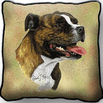 "17"" x 17"" Pillow - Staffordshire Bull Terrier by Robert May 1945"