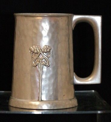 Art Nouveau Hammered Pewter Tankard Arts & Crafts Jugendstil Hand Made Tankard 2