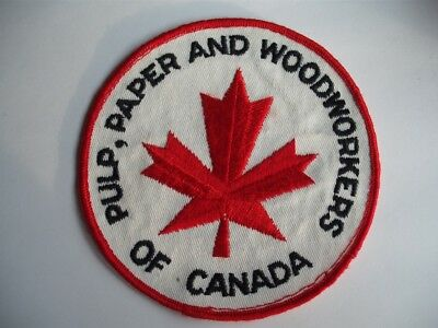 Pulp Paper & Woodworkers Union Of Canada Crest Badge Vintage Red Maple Leaf