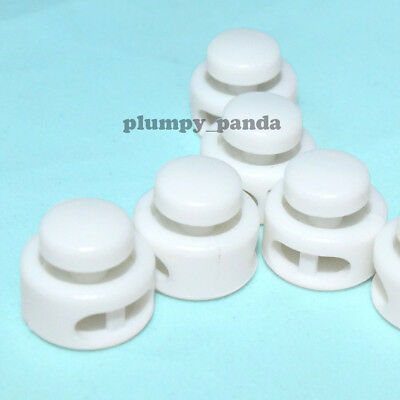 """Button ( Choose Qty ) Cordlock (2 holes 1/8"""") White Round Cord Lock End Stop New"""