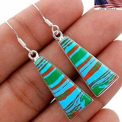 """Rainbow Calsilica 925 Solid Sterling Silver Earrings Jewelry 1 7/8"""" Long A2-5"""