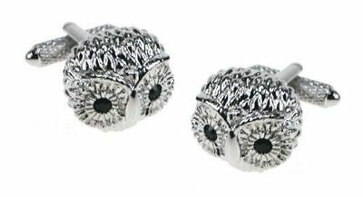 Novelty Set of BIRD Cufflinks Owl With Black Eyes Complete With Luxury Gift Box