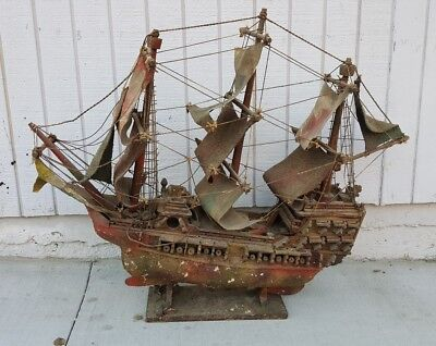 Antique HAND MADE MODEL SHIP British Wooden Pirate Ship with Cloth Sails 35""