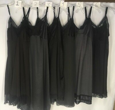 Vtg Slips Lot of 6 All Black Nylon Sexy Lacy Girlie Creamy Dreamy