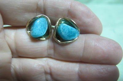 Vintage Pair of Cufflinks Polished Blue Green Stone