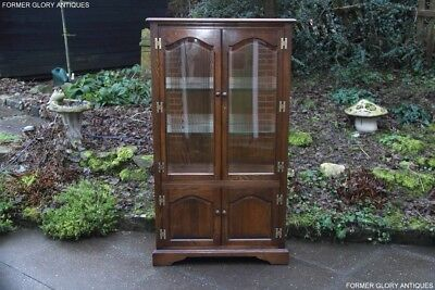 Old Charm Light Oak Display China Glass Cabinet Cupboard Shelves Bookcase Stand