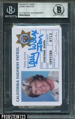 Larry Wilcox JON Signed CHIPS License Novelty Card Autograph Beckett BAS AUTO