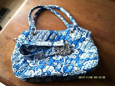 Gently Used Vera Bradley Retired Blue Lagoon Purse/handbag-Blue & White