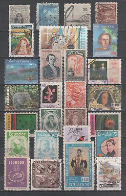 """R/al18060 LOT OF 27 USED STAMPS OF """"ECUADOR"""", ALL DIFFERENT"""