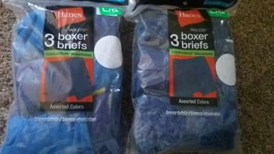 2 New 3 Pair Of Hanes Tagless Boxer Briefs Gray 6 Pairs Size L 14-16 Comfort