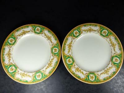 CROWN DUCAL 2 x Luncheon PLATES,APPLE GREEN & YELLOW,22.5cm