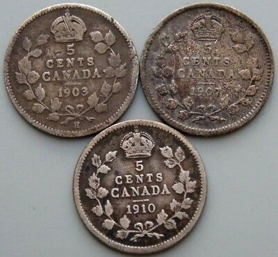 1903 1907 1910 Canada Canadian 5 Cent Silver Coins - King Edward VII - Lot Of 3