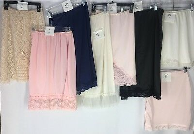 Vtg Half Slips Lot of 8 Nylon Sexy Lacy Girlie Creamy Dreamy
