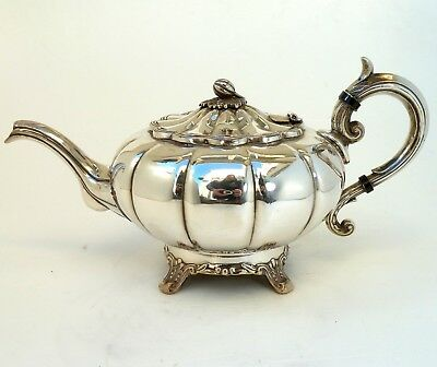 Silver Art Nouveau Pumpkin Style Teapot With Scroll Handle By Viners